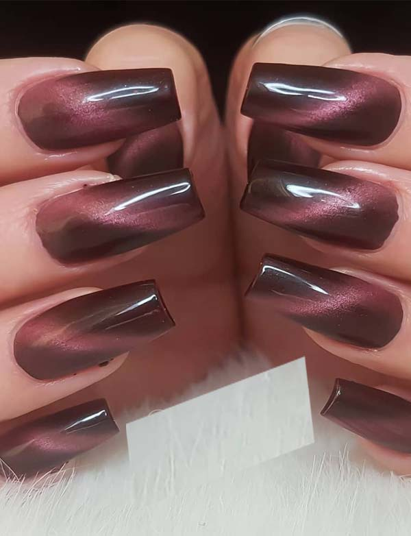 Cat Eye Dark Red Nail Designs for 2019