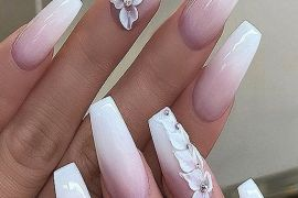 Fresh & Easy White Long Nail Art Styles for Teenage Girls