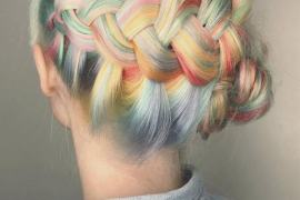 Misty Rainbow Hair Color Style with Stylish Braids for 2019