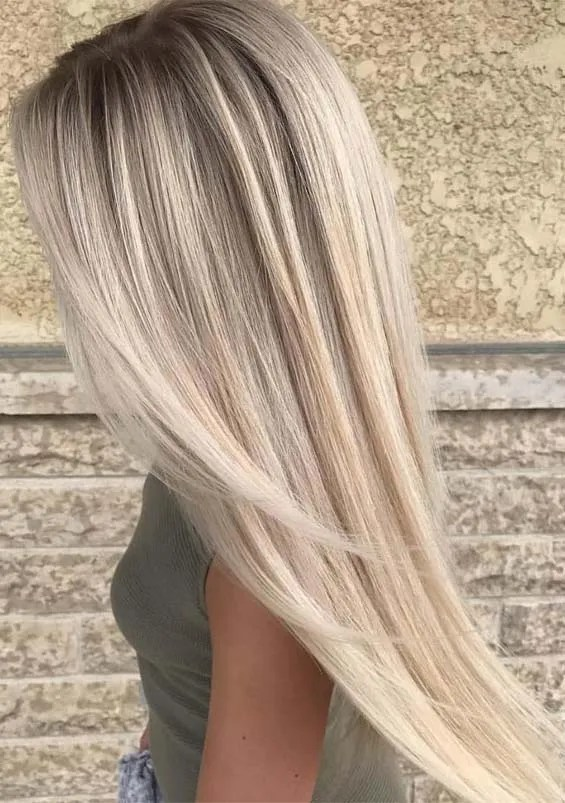 Fresh Platinum Balayage Hair Colors For Long Straight Hair In 2019