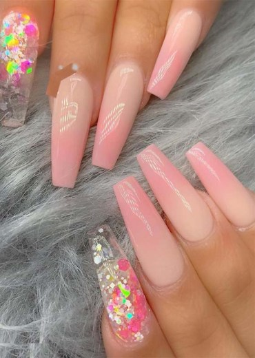 Beautiful ombre pink nails in 2019