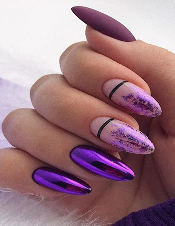 Purple Nail Art Styles for Long Nail In 2019