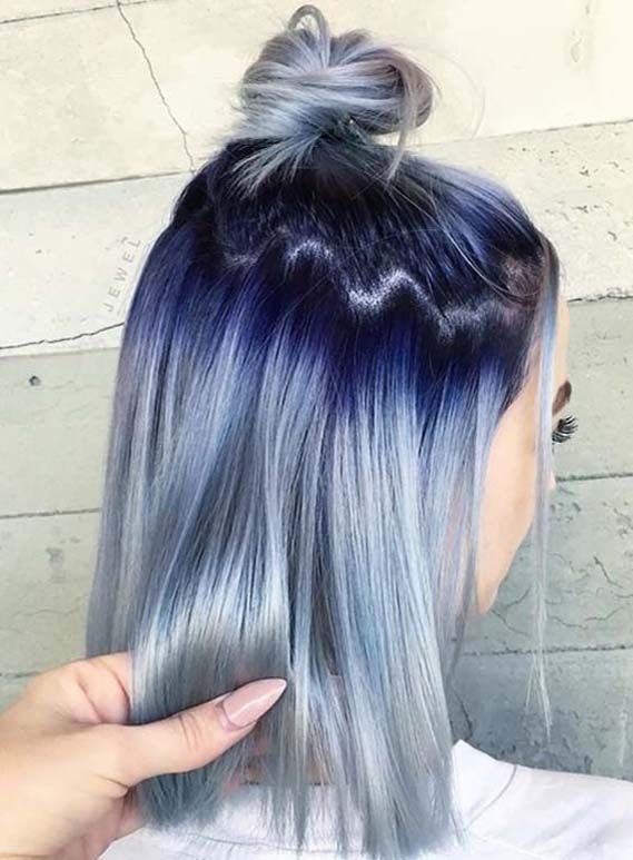 Gorgeous Blue Hair Color Ideas with Top Bun Styles in 2019 ...