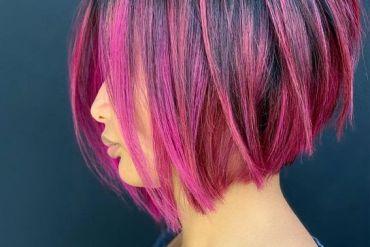 Pink Fruit Balayage Hairstyle for Short Hair
