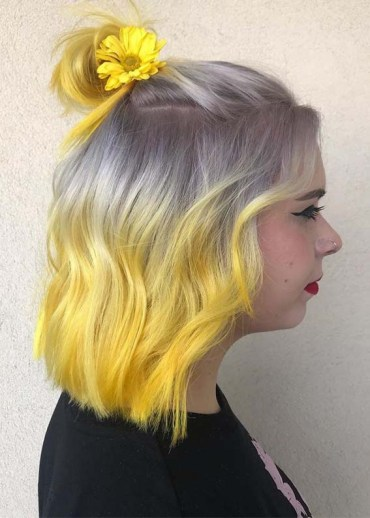 Silver Grey to Yellow Hair Colors with Half Up do Hairstyle for 2019