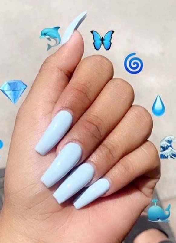 Blue Nail Polish Ideas for Long Nails in year 2019