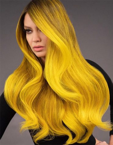 Gorgeous Yellow Highlighted Hair Color for Long Hair
