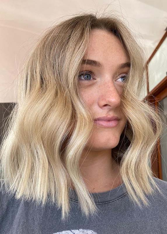 Creamy Blonde with mid length Chopy Haircuts in 2020