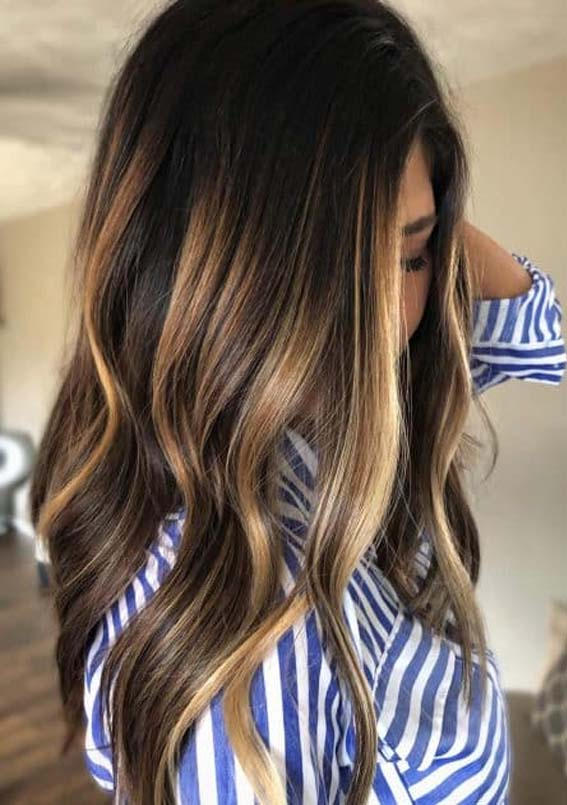 Dark Chocolate Brown Hair Colors with Blonde Highlights