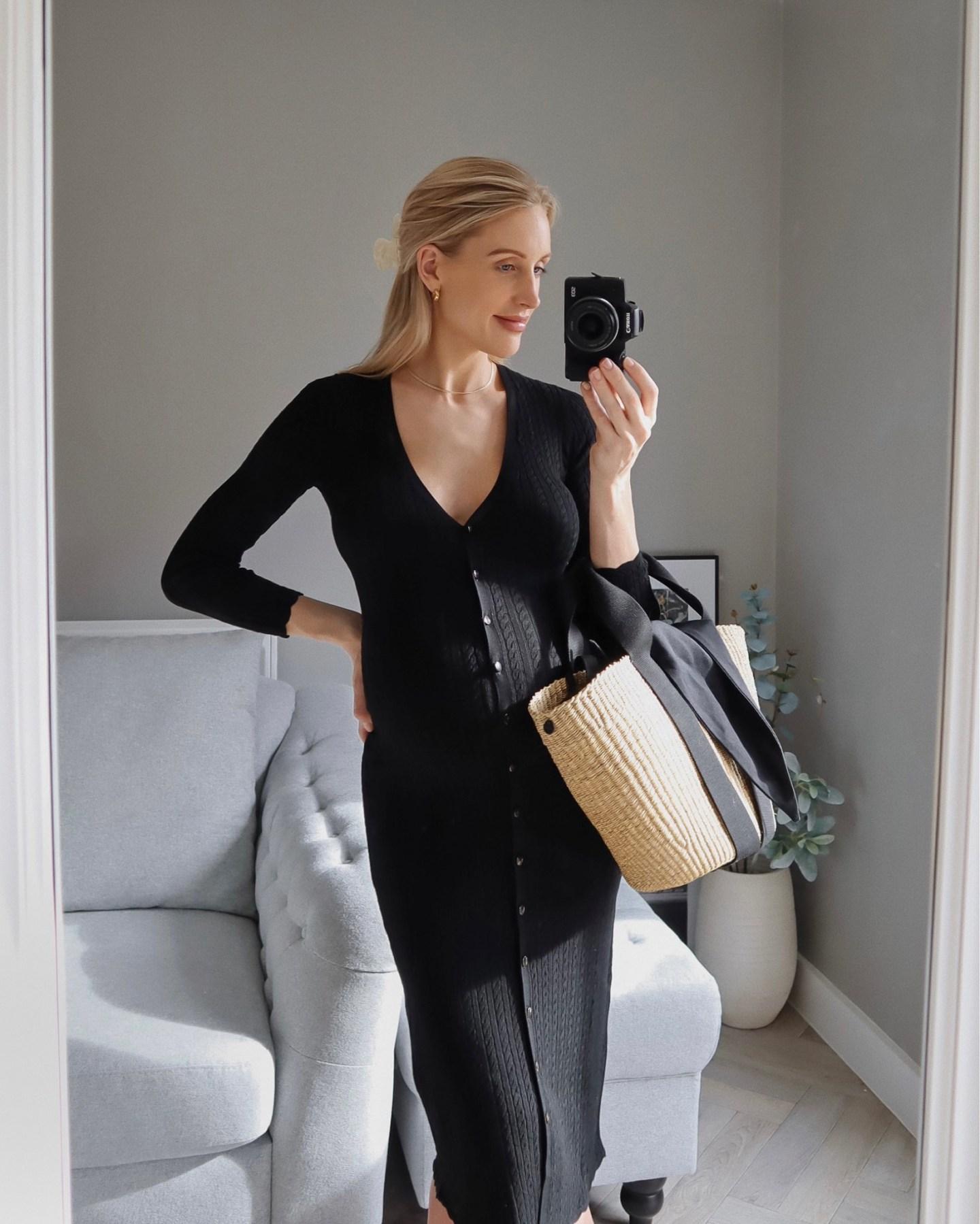 Muun straw basket bag with Sezane black knitted dress