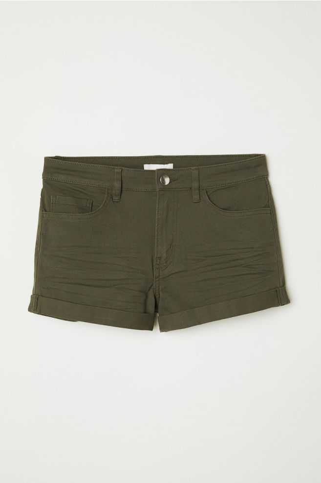 HM Short Twill Shorts Dark Green Khaki