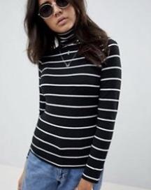 ASOS DESIGN Stripe High Neck Top