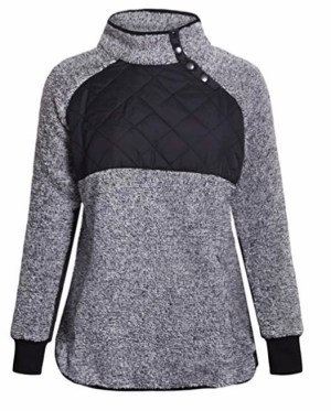 Amazon Fashion Stand Collar Button Pullover Sweater