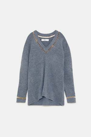 Zara Grey V-Neck Sweater