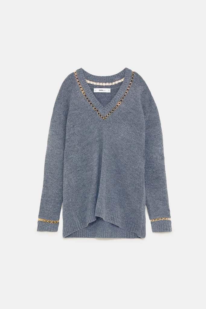 Zara Grey V-Neck Sweater