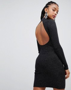 Bershka Open Back High Neck Dress