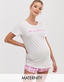 New Look Maternity Slogan Pyjama Shorts Set
