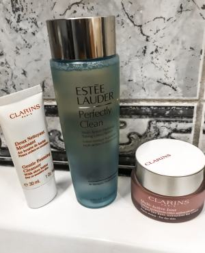 beauty products on bathroom counter