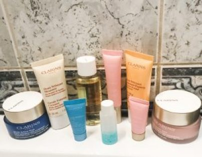 Clarins Beauty Products displayed in bathroom