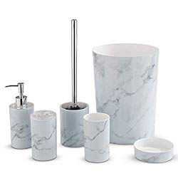 6-Piece Bathroom Set – Marble Effect