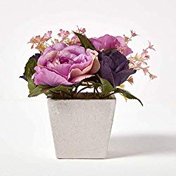Small Artificial Purple Rose Plant in White Pot 16 cm