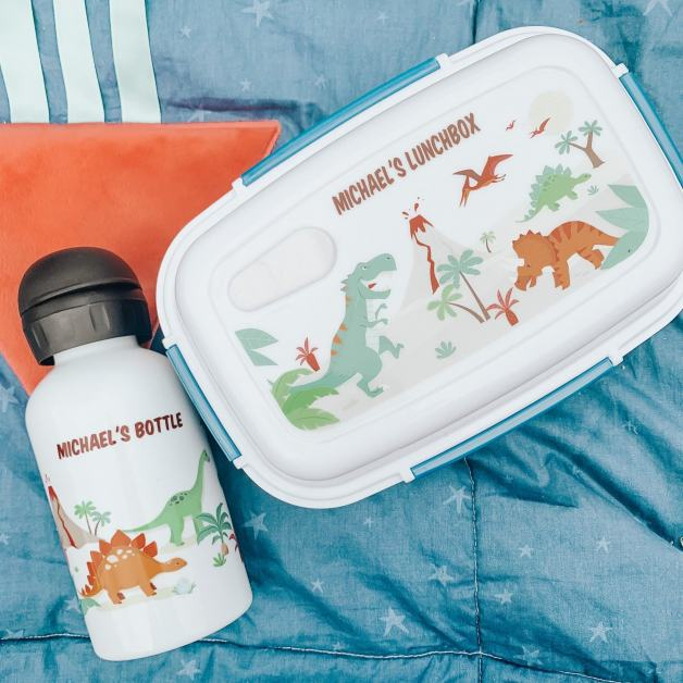 lunch box and bottle on blanket