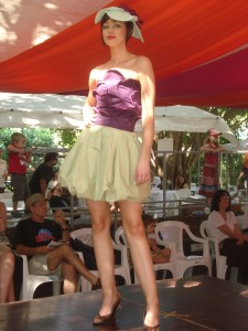 Katie Clarke\'s Lotus Flower entry in the 2008 Wearable Art Competition, Eumundi Markets