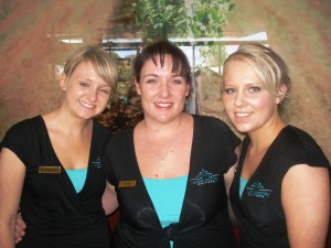 Kylie Woodbridge (centre) and the girls from Ocean Serenity Day Spa provided some pampering to the guests at Fashion Fridays, September 26, 2008