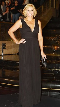 Johanna Grigg wears Me Too by Matthew Eager to the 2011 Logies