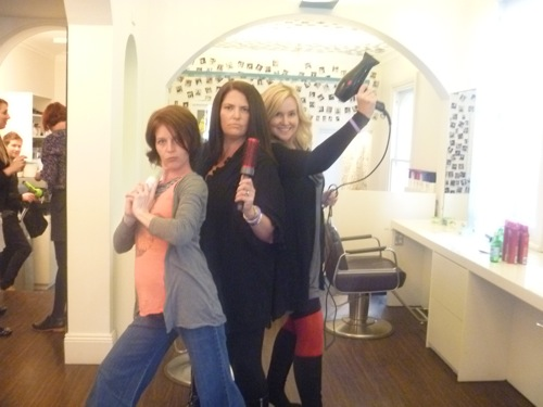 Charlie's Blogging Angels, from left, Random Ramblings of a Stay at Home Mum's Lori, Mrs Woog and me.  I can feel Hollywood calling.