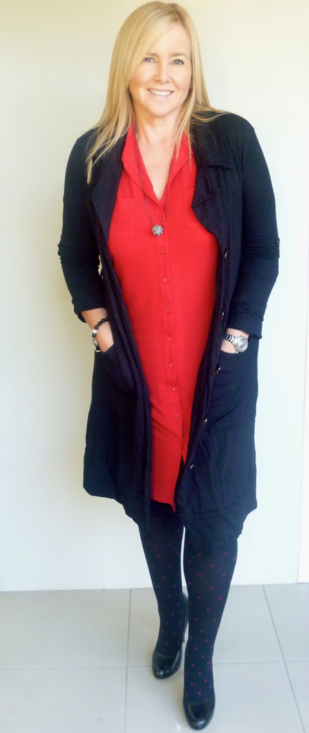 My Wear Red for Daniel outfit: Leona Edmiston Ruby dress; Metalicus trench; Mezi necklace; Leona Edmiston pins; Country Road pumps