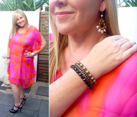 The Eco Diva short pink kaftan worn as a dress with Country Road platforms, Witchery bracelet and Sophie Kyron earrings