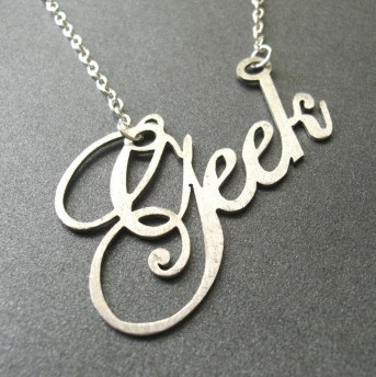 Stainless steel laser-cut Geek necklace $60.08. www.morphologicadesign.com/