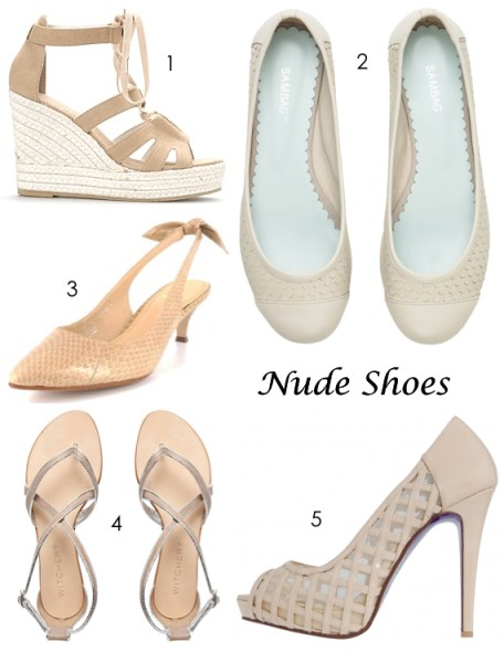 nude shoes from Florsheim Zizi, Sambag, Witchery, PeepToe Shoes and Country Road