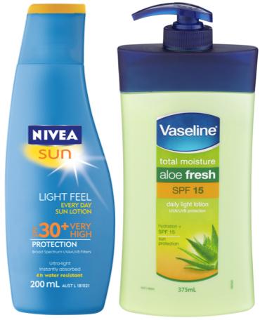body moisturisers with SPF: Nivea Sun 30+ Light Feel Every Day Sun Lotion; Vaseline total moisture aloe fresh SPF 15