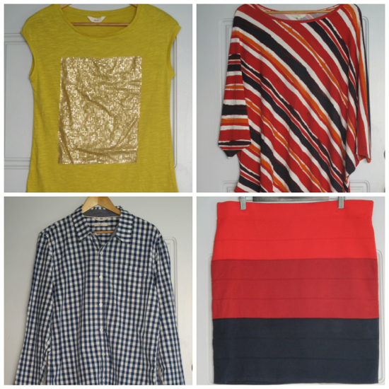 Mix Apparel at Coles haul: clockwise from top left tee for my daughter $19; stripey top for me $19; stripe tube skirt for me $25; checked shirt for Mr SY $19
