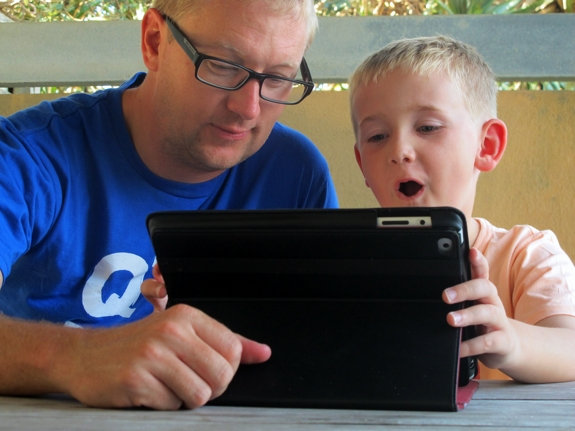 Father and son iPad time: thanks to the EA Games iPad app sale