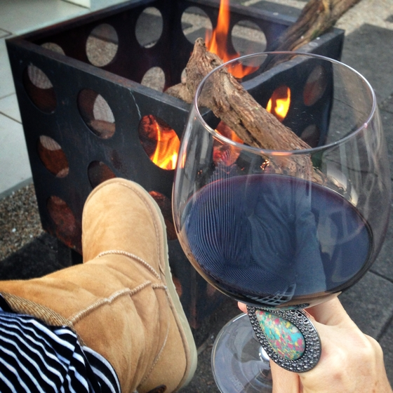 Fire pit, red wine, soft pants and emu australia boots