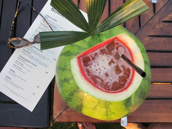Watermelon cocktail at the Sunset Bar, Ayana Resort, Jambaran, Bali