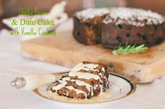 sticky prune and date cake with vanilla custard