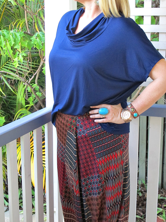 Verily AW14 top and maxi skirt Samantha Wills earrings and ring Noosa Amsterdam cuff