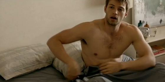 Lawrence in bed with just a sheet Offspring S5 Ep5