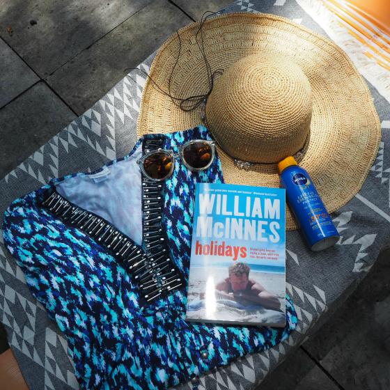 Cabana Life UPF50+ coverup @ Sequins and Sand | Karen Walker sunnies | David Jones hat | NIVEA Ultra Beach Protection sunscreen | Knotty Towel | Holidays by William McInnes