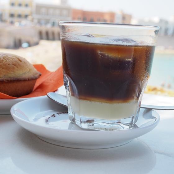 Iced espresso and almond milk and pasticciotto - typical Puglia, Italy