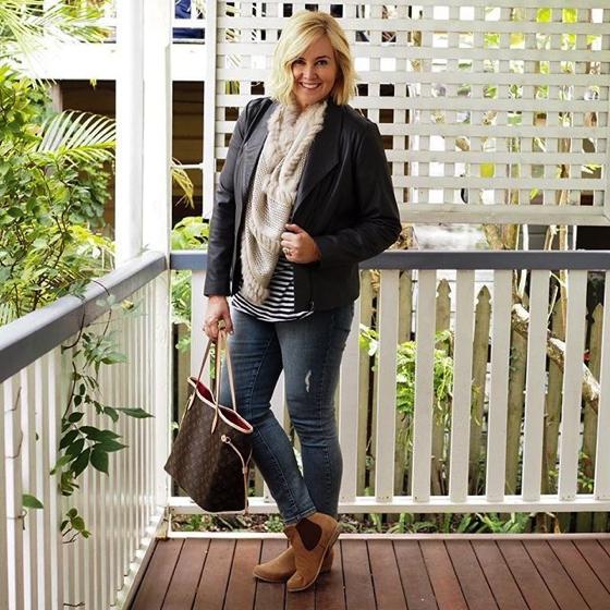 Blue Illusion jacket   Lou Lou Design poncho worn as scarf   NYDJ jeans   Frankie4 Footwear jeans   Bassike tee   Frankie4 Footwear boots   LV bag