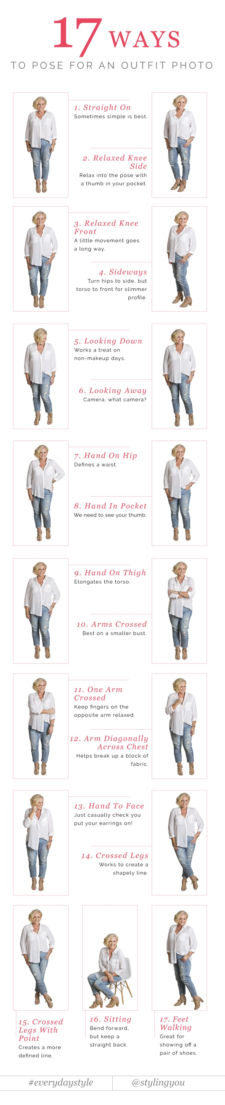 17 ways to pose for outfit photos and feel confident | Styling You #everydaystyle