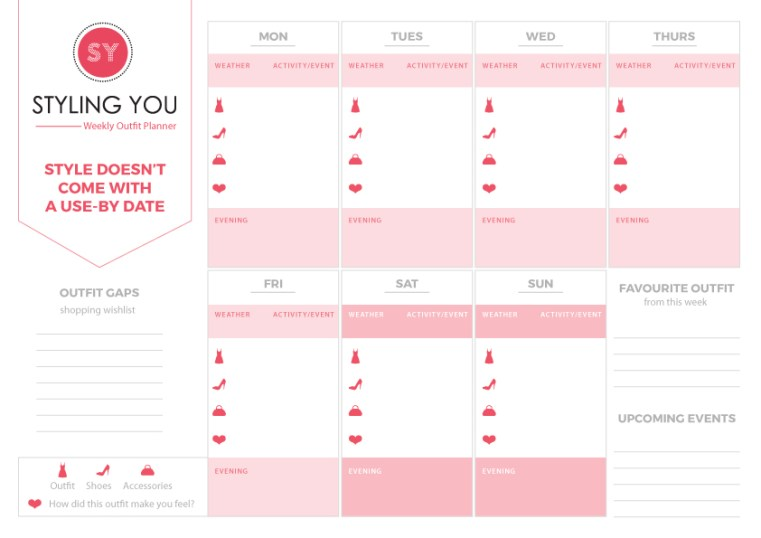Weekly outfit planner printable   Styling You