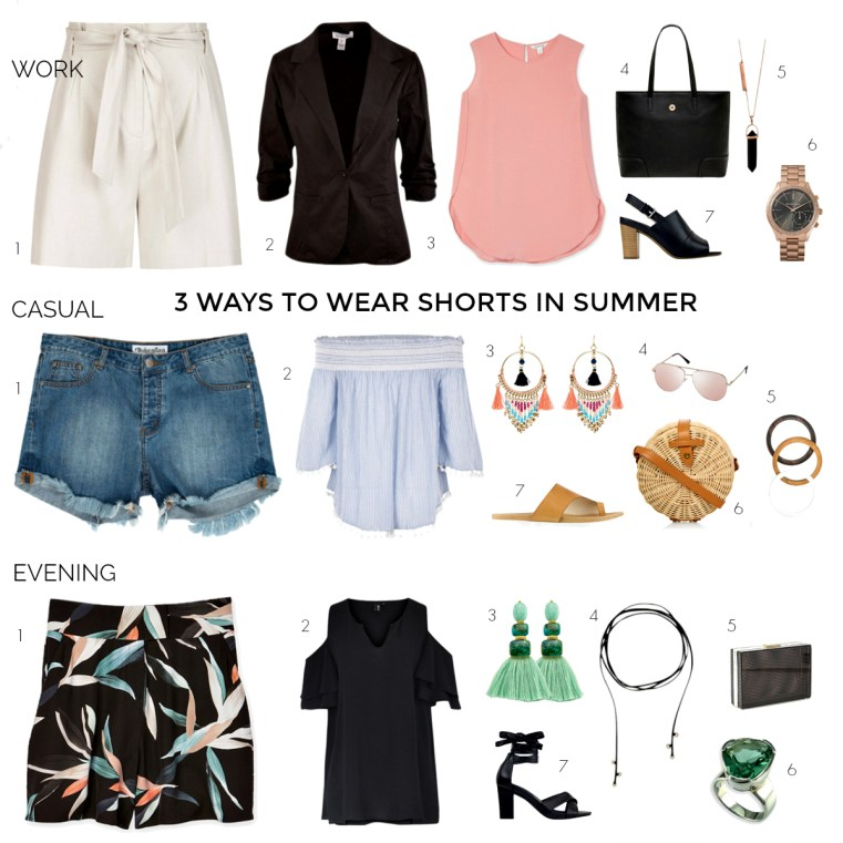 3 ways to wear shorts in summer: work, casual and evening