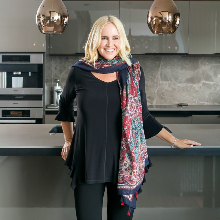 Motto black jersey flounce v top | Motto Persia print wrap scarf| Nikki Parkinson of Styling You. Photo by Sarah Keayes/The Photo Pitch