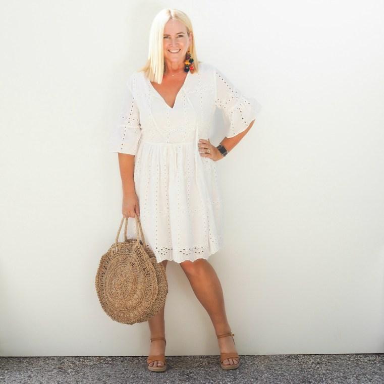 Zarc dress | SFH Designs earrings | bag bought in Bali | FRANKiE4 Footwear ALYCE wedges in tan